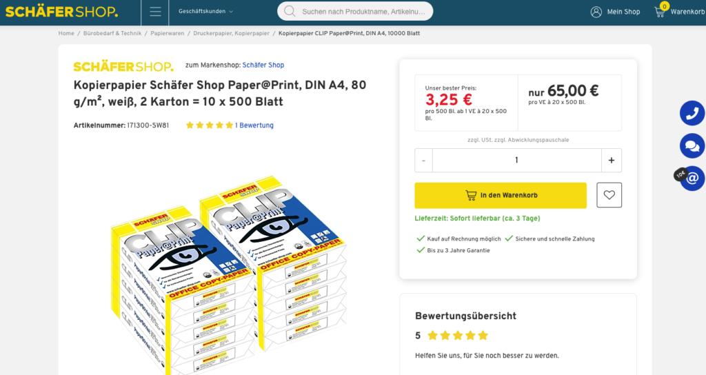 Beispiel Produktbeschreibung Schäfer Shop