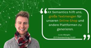 Lucas Mangler von CB Präsentwerbung über automatisierte Produkttexte