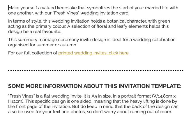 Produktbeschreibung Hochzeitskarte