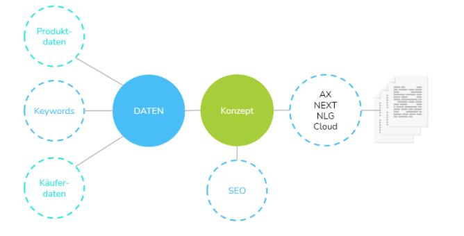 Aus strukturierten Daten wird ein Textkonzept erstellt, auf dessen Grundlage die Kategorieseiten automatisiert betextet werden.